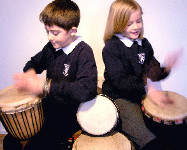 School Children Djembe Drumming